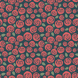 Sömlös bakgrund för swirly röda rosor för tappning Royaltyfri Fotografi