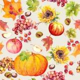 Sömlös bakgrund för tacksägelse Frukter grönsaker - pumpa, höstsidor vattenfärg Arkivfoton