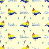 Sömlös bakgrund för vattenfärg med fågeln Arkivfoton