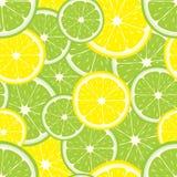 Sömlös bakgrund för vektor av citron- och limefruktskivor Royaltyfri Bild