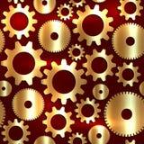 Sömlös bakgrund för vektor i techstil med guld- kugghjul Royaltyfri Bild