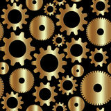Sömlös bakgrund för vektor i techstil med guld- kugghjul Royaltyfria Foton