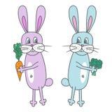 Sömlös bakgrund för vektor Kaniner med grönsaker Färgrik vektorillustr Royaltyfri Foto