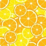 Sömlös bakgrund för vektor med apelsin- och citronskivor Arkivbilder