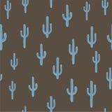 Sömlös bakgrund för vektor med den blåaktiga kaktuns Royaltyfri Foto