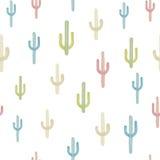 Sömlös bakgrund för vektor med den mångfärgade kaktuns Royaltyfri Fotografi