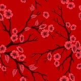 Sömlös bakgrund för vektor med den sakura blomningar och folliagen Royaltyfria Bilder