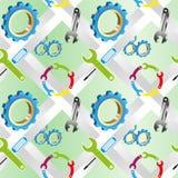 Sömlös bakgrund för vektor med en uppsättning av industriella hjälpmedel stock illustrationer