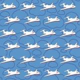 Sömlös bakgrund för vektor med flygplan royaltyfri illustrationer