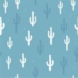 Sömlös bakgrund för vektor med kaktuns Royaltyfria Bilder