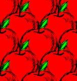 Sömlös bakgrund för vektor med röd hand drog äpplen stock illustrationer