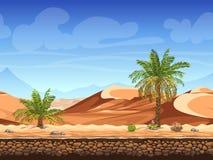 Sömlös bakgrund för vektor - palmträd i öken royaltyfri illustrationer