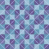 Sömlös bakgrund för violett och blå patchwork med fyrkanter och romber Arkivfoto