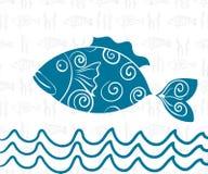 Sömlös bakgrund för vykorthavstema av fisken, våg vektor illustrationer