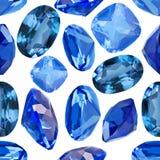 Sömlös bakgrund från isolerade blåa safir Royaltyfri Bild