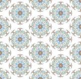 Sömlös bakgrund från runda för blom- prydnad royaltyfri illustrationer
