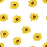 Sömlös bakgrund: gula blommasolrosor på en vit bakgrund Plan vektor royaltyfri illustrationer