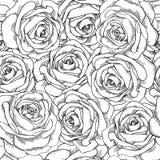 Sömlös bakgrund. Hand-drog rosor. stock illustrationer