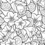 Sömlös bakgrund i vektor med klotter, blommor och paisley Royaltyfria Foton
