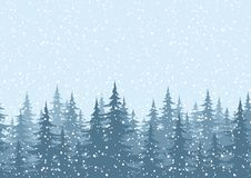 Sömlös bakgrund, julgranar med snö Arkivfoto