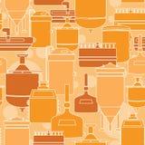 Sömlös bakgrund med öl som bryggar process Arkivbilder