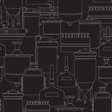 Sömlös bakgrund med öl som bryggar process Arkivfoton