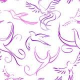 Sömlös bakgrund med abstrakta fåglar royaltyfri illustrationer