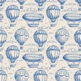 Sömlös bakgrund med ballonger och luftskepp vektor illustrationer