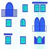 Sömlös bakgrund med blåa fönster Vektor Illustrationer