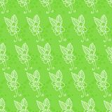 Sömlös bakgrund med blommor på en grön bakgrund Royaltyfri Fotografi
