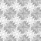 Sömlös bakgrund med blommor på en grön bakgrund Royaltyfria Foton