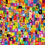 Sömlös bakgrund med bokstäverna av alfabetet Arkivbilder