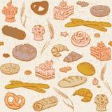 Sömlös bakgrund med bröd och bakelse Arkivfoton