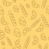 Sömlös bakgrund med bröd och ost Fotografering för Bildbyråer