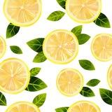 Sömlös bakgrund med citronen Arkivfoto