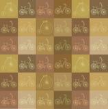 Sömlös bakgrund med cyklar Royaltyfri Fotografi