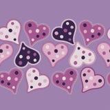 Sömlös bakgrund med dekorativa hjärtor valentin för dag s stock illustrationer