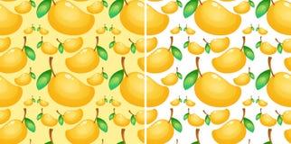 Sömlös bakgrund med den nya mango stock illustrationer