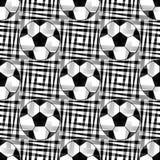 Sömlös bakgrund med en fotbollboll i genomskinliga färger Royaltyfri Fotografi