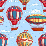 Sömlös bakgrund med färgrika ballonger och luftskepp stock illustrationer