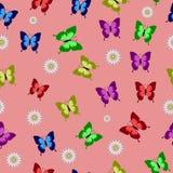 Sömlös bakgrund med färgrika fjärilar på en rosa bakgrund stock illustrationer