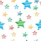 Sömlös bakgrund med färgrika stjärnor Arkivfoto