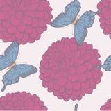 Sömlös bakgrund med fjärilar och blommadahlior i pastellfärgade färger för tappning. Arkivfoton