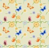 Sömlös bakgrund med fjärilar och blommor Stock Illustrationer