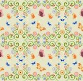Sömlös bakgrund med fjärilar och blommor Royaltyfri Illustrationer