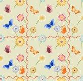 Sömlös bakgrund med fjärilar och blommor Vektor Illustrationer