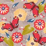 Sömlös bakgrund med fjärilar och blommor Arkivfoton