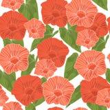 Sömlös bakgrund med gräsplansidor och rosa färger blommar också vektor för coreldrawillustration Arkivbild