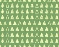 Sömlös bakgrund med granträd Feriejulmodell royaltyfri illustrationer