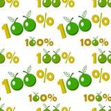 Sömlös bakgrund med hundra procent äpplesymbol royaltyfri illustrationer
